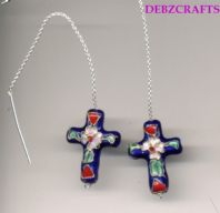 Sterling silver thread through earrings with metal cross drop